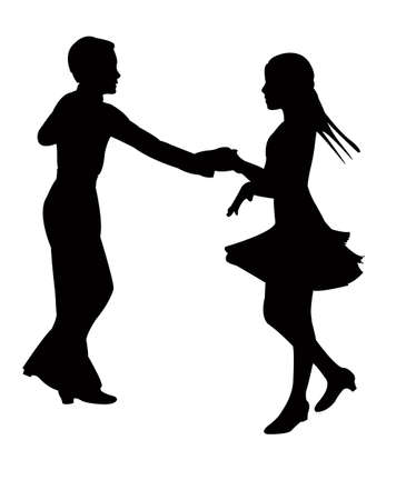 a teenager couple dancing, silhouette vector