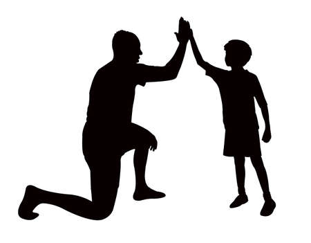a father and boy body, silhouette vector