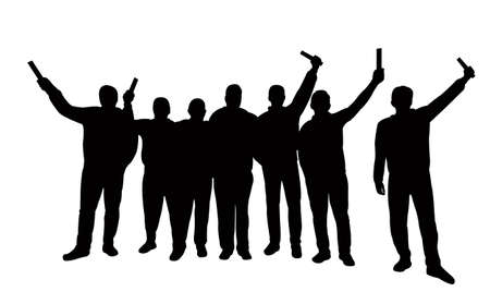 hooligans together, silhouette vector Vectores
