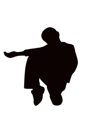 a boy asking help, silhouette vector