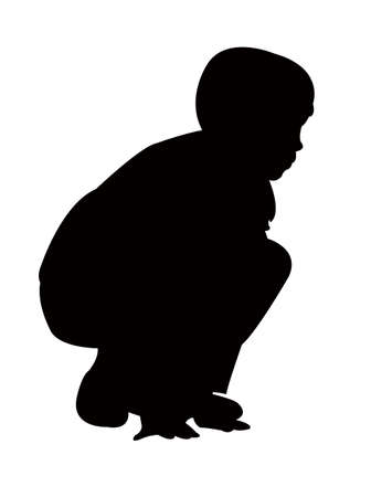 a child crouching body silhouette vector