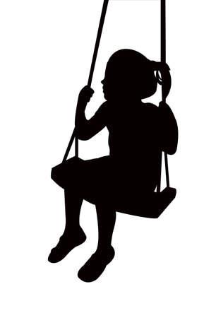 a girl swinging body silhouette vector Vetores