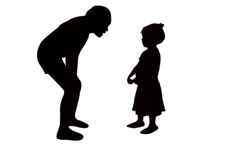sister talking to girl, silhouette vector