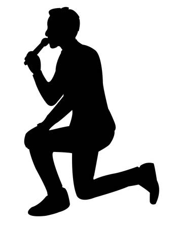 a man talking to microphone, silhouette vector Illustration