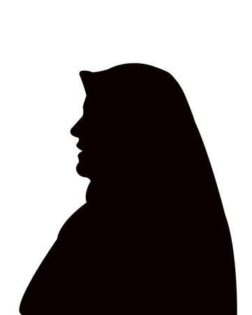 a woman with head scarf silhouette vector