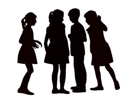 children making chat, silhouette vector Vetores