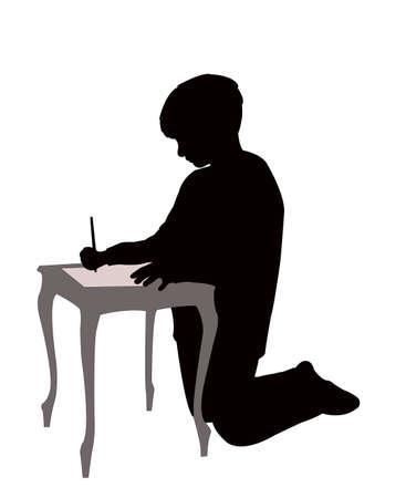 a boy writing silhouette vector