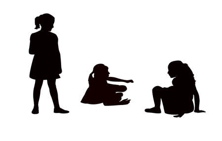 girls playing silhouette vector Illustration