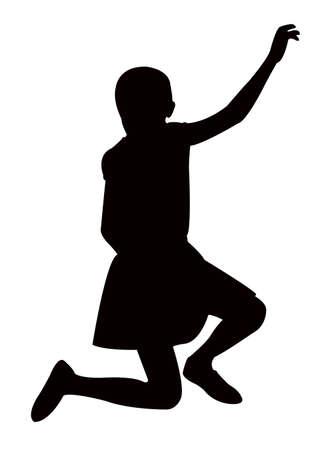 a girl kneeling on body silhouette vector