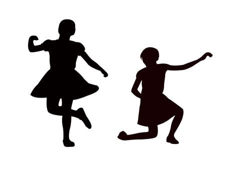 two girls dancing body silhouette vector