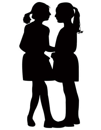 girls making chat, silhouette vector