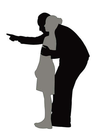 a man and girl body silhouette vector