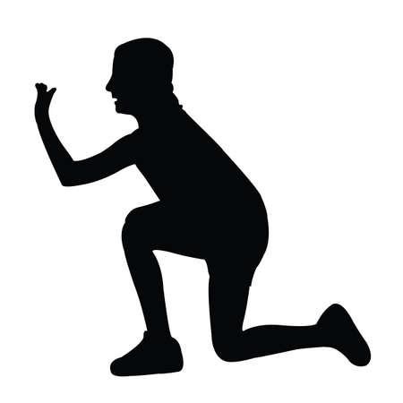 a girl kneeling down body silhouette vector
