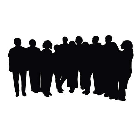 a big family members together, silhouette vector