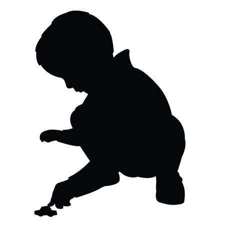 a boy playing with his toy car, silhouette vector