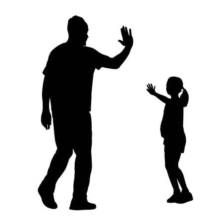 a man and girl playing, silhouette vector