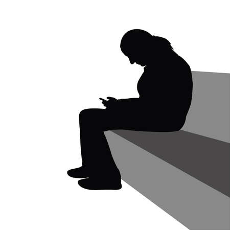 a woman sitting body silhouette vector