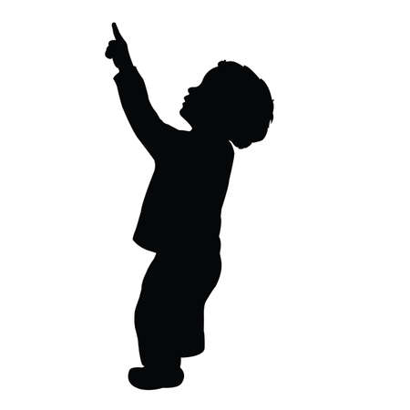 a boy showing up, silhouette vector