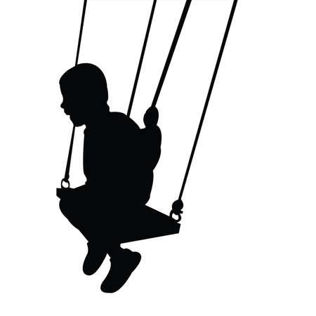 a child swinging body silhouette vector Vecteurs