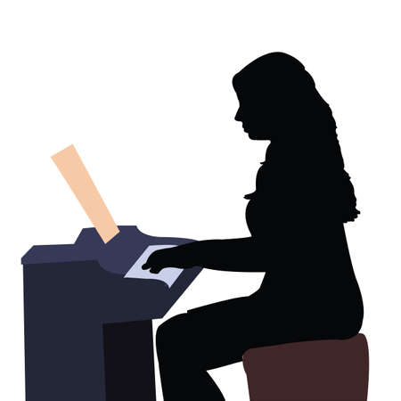 a woman playing piano, silhouette vector Stock Illustratie