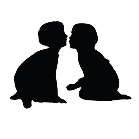 a girl and a boy kissing each other, silhouette vector