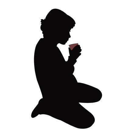 a girl sitting and drinking, silhouette vector Vettoriali