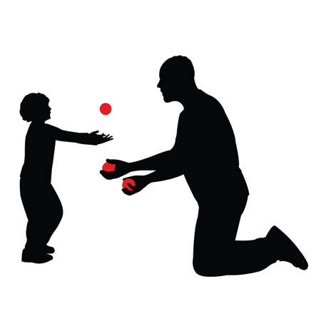 a man and boy playing, silhouette vector Illustration