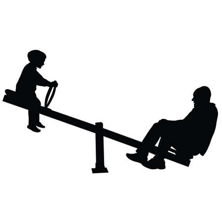 boy and father at park, silhouette vector