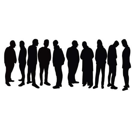people waiting, silhouette vector Vektorové ilustrace