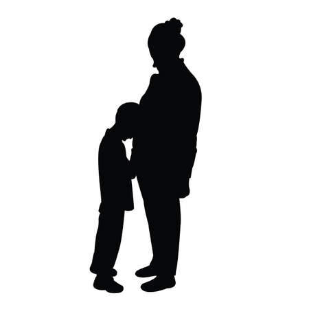 a woman and son body silhouette vector