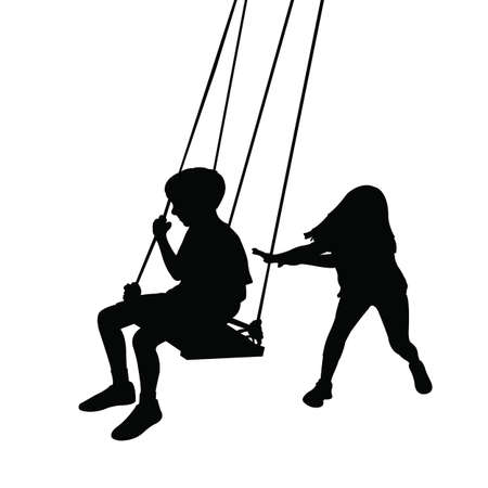children swinging body silhouette vector Vetores
