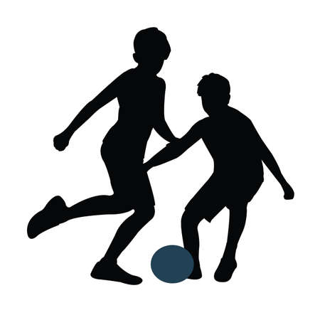 boys playing football silhouette vector
