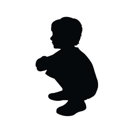 a boy body silhouette vector