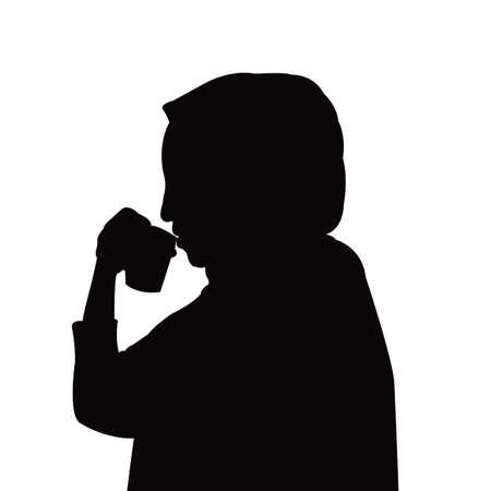woman drinking, head silhouette vector