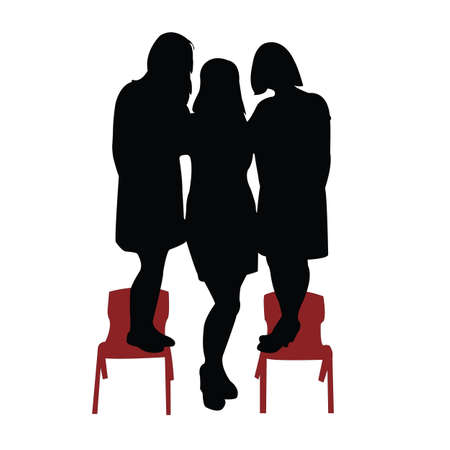 one tall two short women, silhouette vector