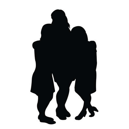 a tall and two short women silhouette vector Illustration