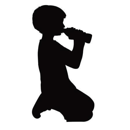 a boy drinking body silhouette vector