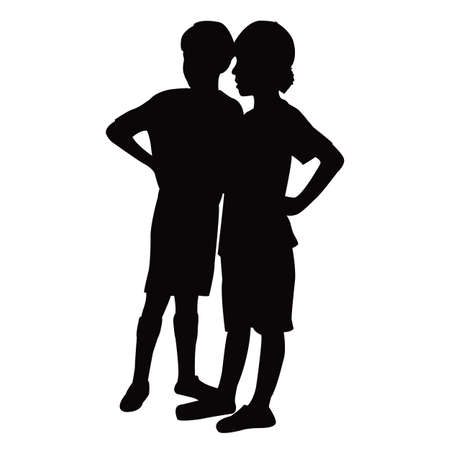 two boys body silhouette vector