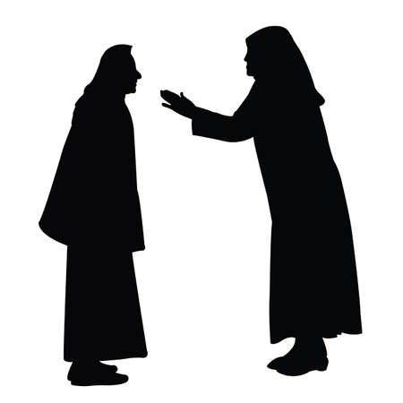 two women making chat, silhouette vector Vettoriali