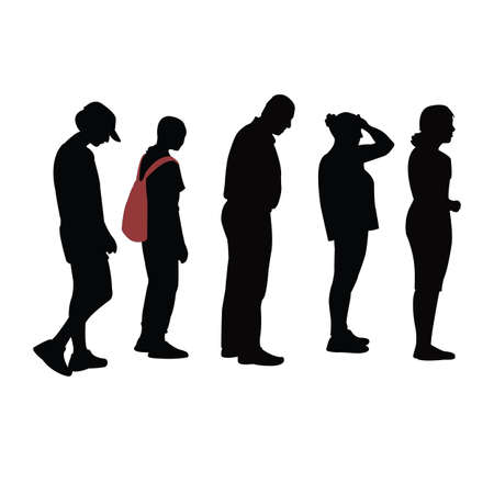 people waiting in line, silhouette vector Vettoriali