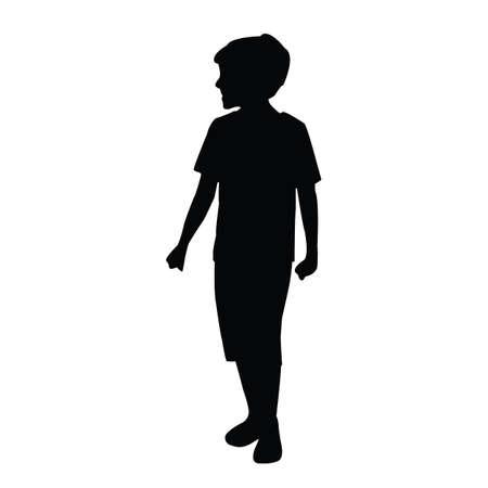 a boy walking body silhouette vector Vettoriali
