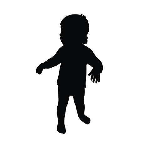 a baby girl bpdy silhouette vector Vettoriali