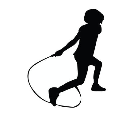 a girl jumping rope, silhouette vector Vettoriali