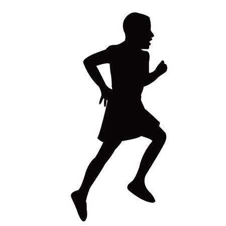 a girl running body silhouette vector