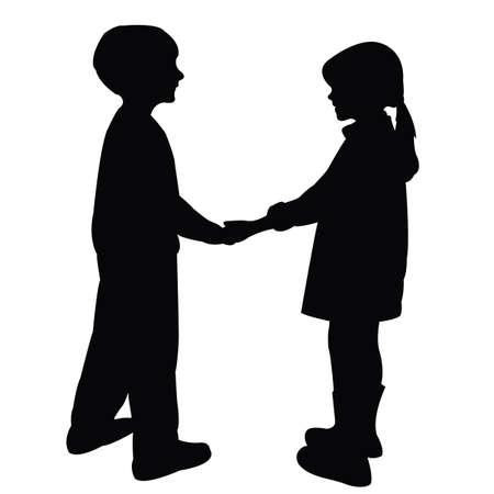 a girl and a boy body silhouette vector