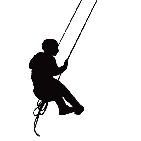 a chid swinging body silhouette vector Vettoriali