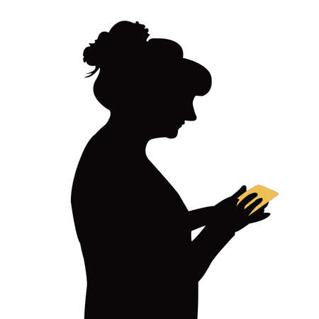 a woman using phone, body part silhouette vector