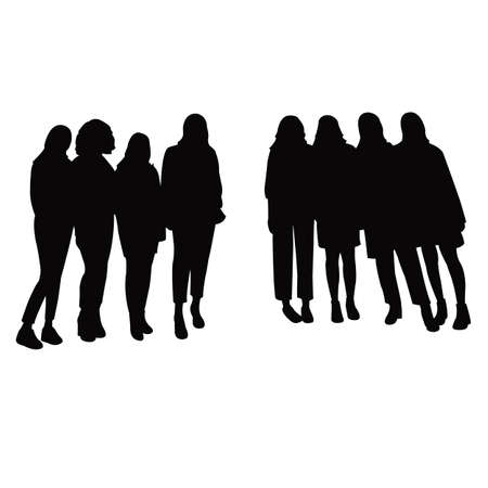 youn teenager ladies together, silhouette vector Vettoriali