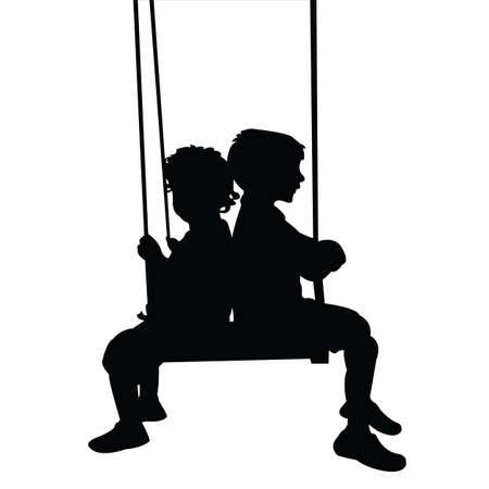 children swinging body silhouette vector