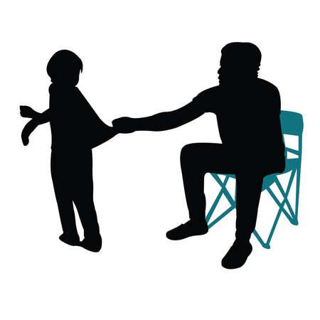 man holding the girl, silhouette vector Vettoriali